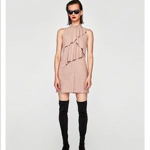 Short suede effect frilled dress, NWT